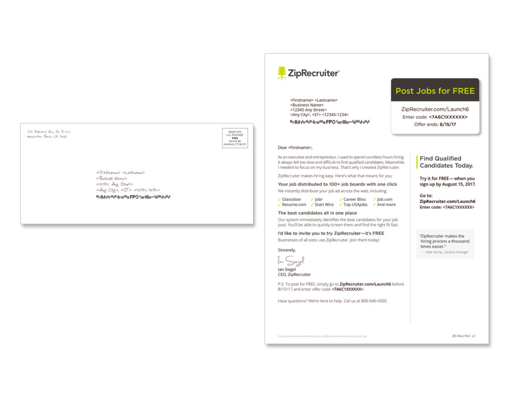 Gunderson Direct, ZipRecruiter Direct Mail Example